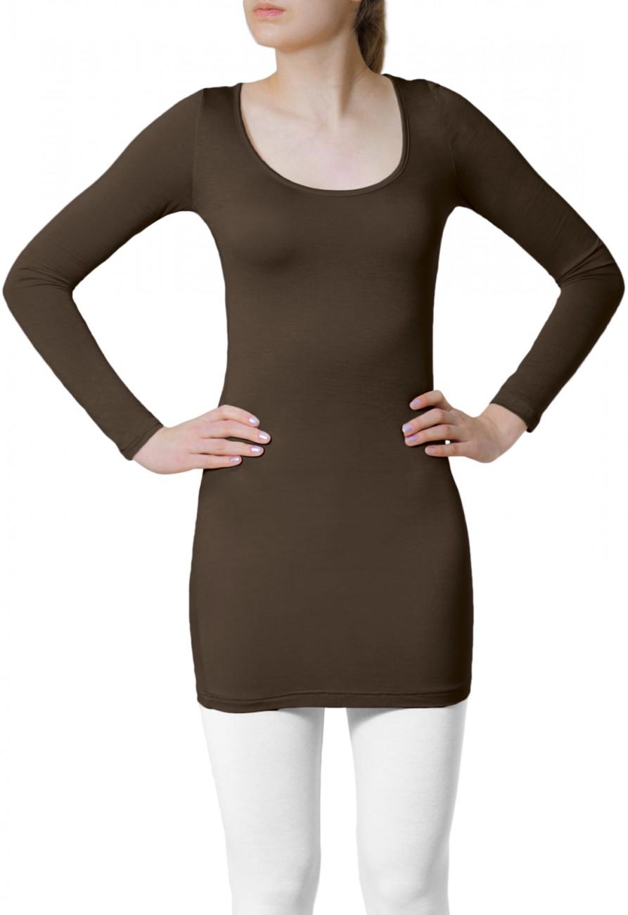 caspar damen shirt langarmshirt longshirt oberteil top basic uni einfarbig lang ebay. Black Bedroom Furniture Sets. Home Design Ideas