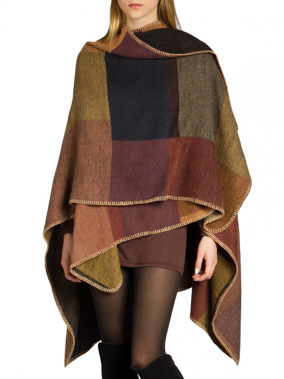 caspar pon006 damen winter poncho wolle cardigan cape. Black Bedroom Furniture Sets. Home Design Ideas