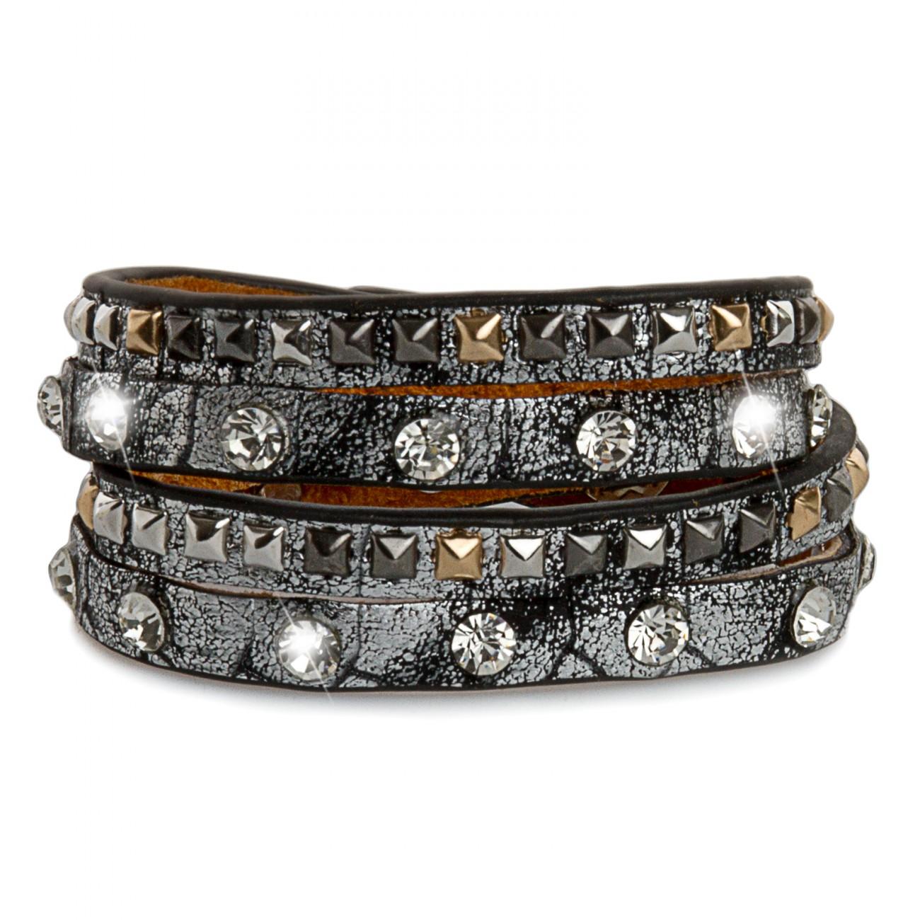 caspar damen armband eckige nieten strass steine wickelarmband kroko muster neu ebay. Black Bedroom Furniture Sets. Home Design Ideas