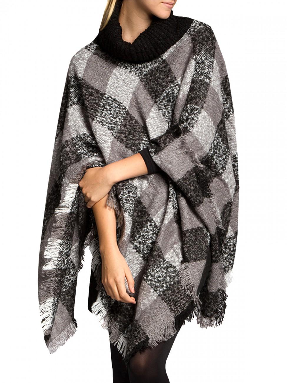 caspar damen strick rollkragen poncho winter cape berwurf. Black Bedroom Furniture Sets. Home Design Ideas
