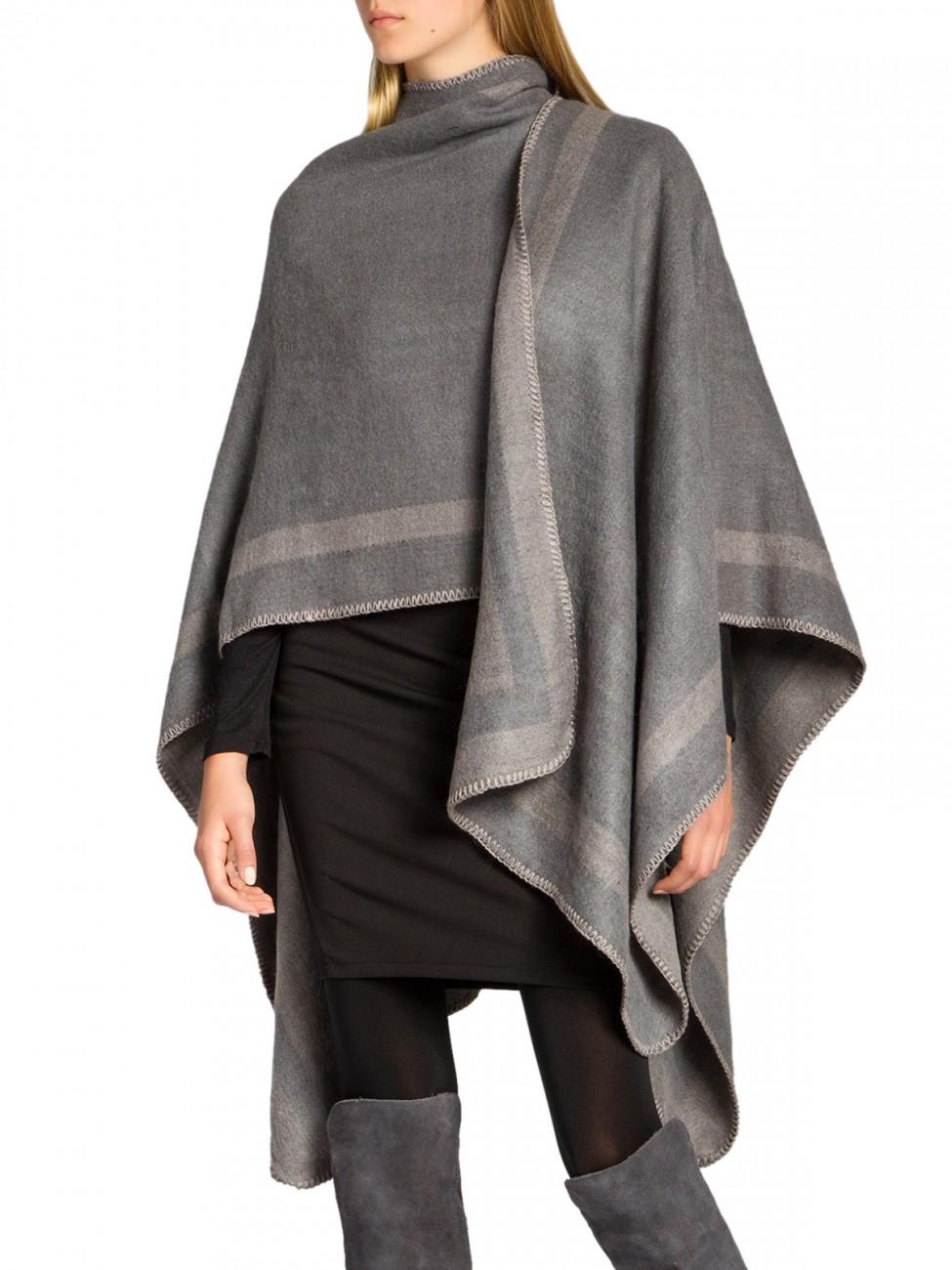 caspar damen wende poncho wolle schwarz cape strick xl. Black Bedroom Furniture Sets. Home Design Ideas