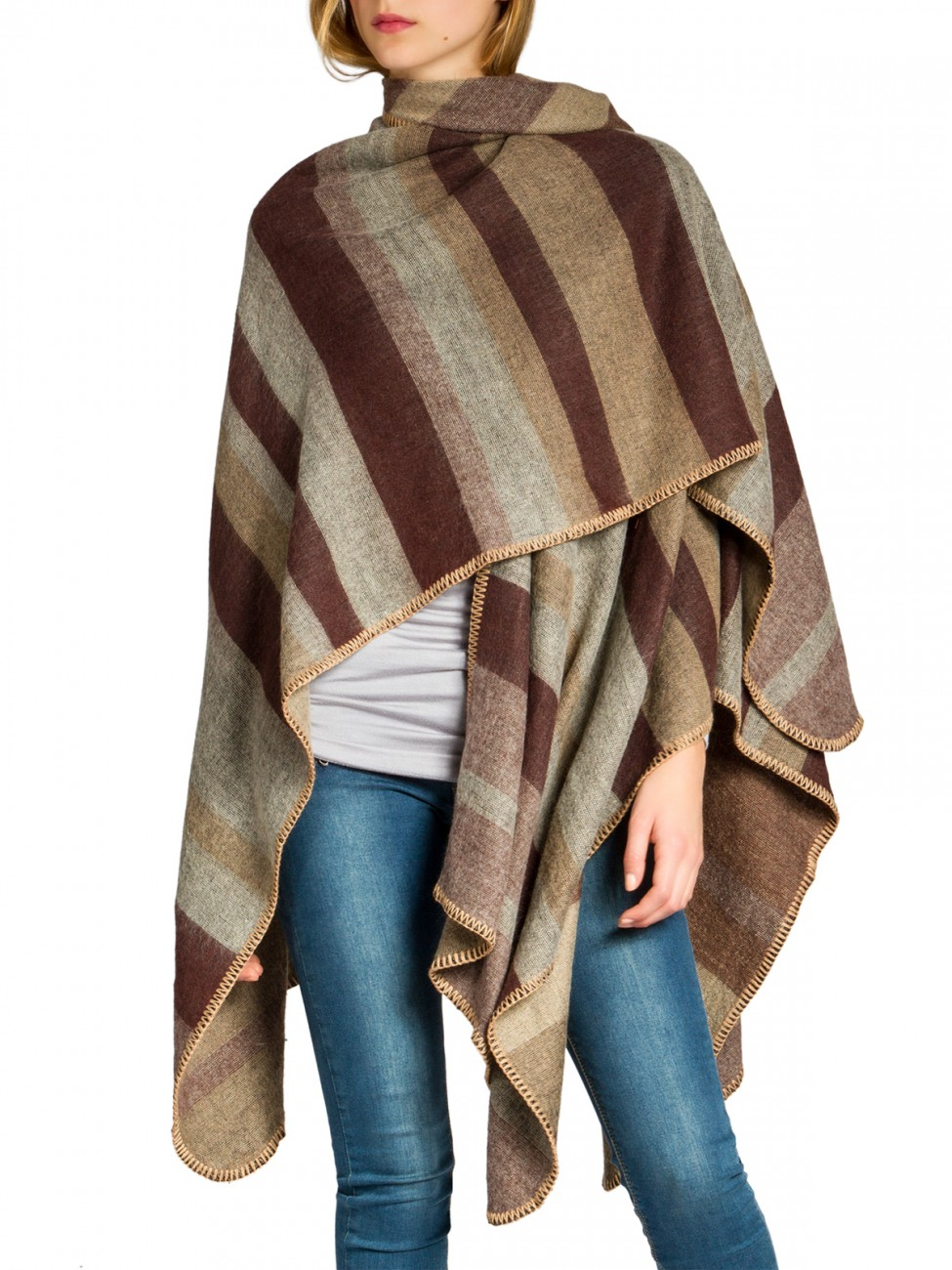 caspar damen woll poncho warm strick winter cape xxl schal. Black Bedroom Furniture Sets. Home Design Ideas