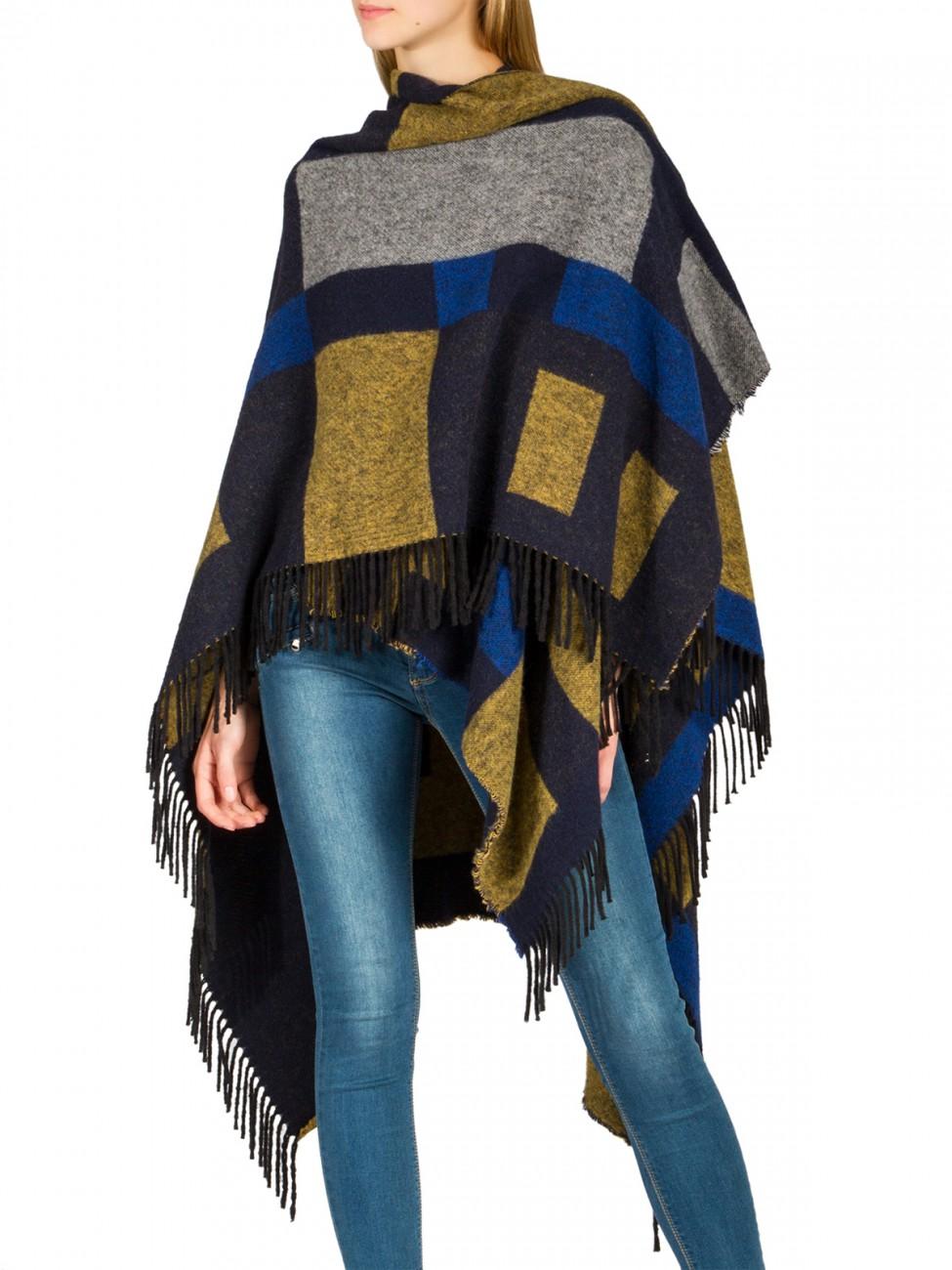 caspar damen poncho warm fransen strick winter cape xxl. Black Bedroom Furniture Sets. Home Design Ideas