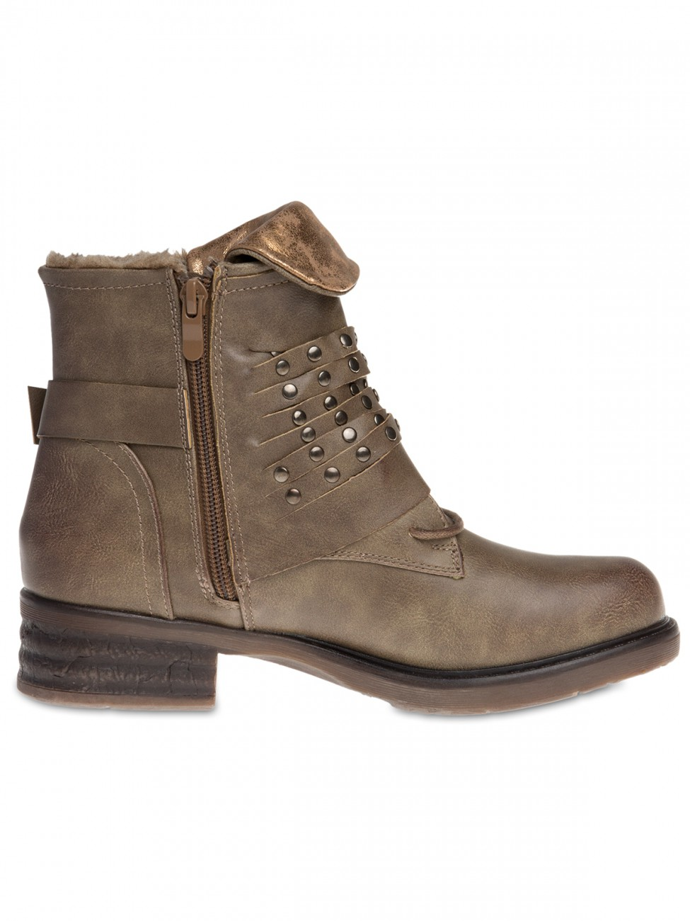 damen vintage biker ankle boots stiefeletten schwarz grau khaki 37 38 39 40 41 ebay. Black Bedroom Furniture Sets. Home Design Ideas
