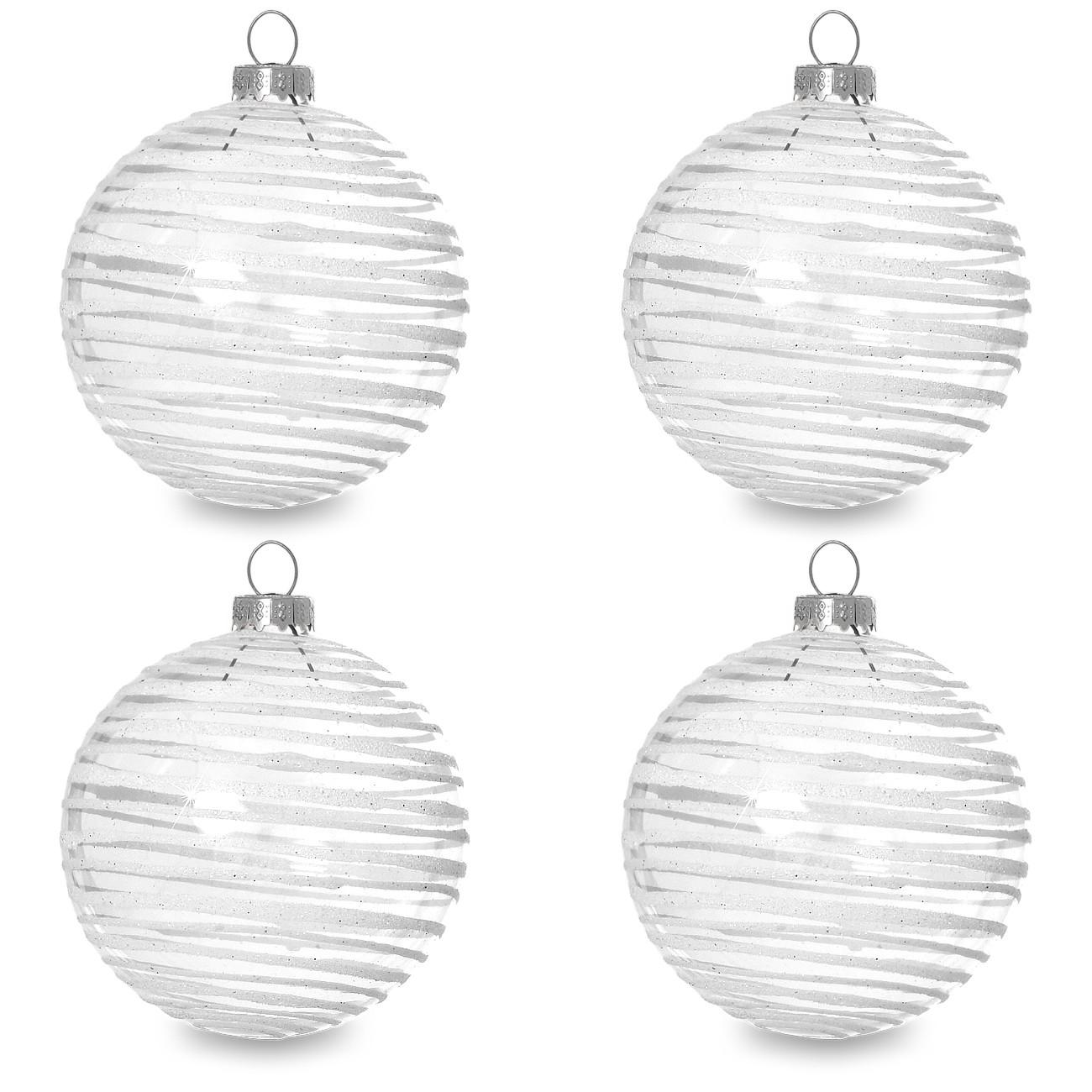 sikora christbaumkugeln aus glas mit moderner verzierung scandic stripes klar glas 4er set. Black Bedroom Furniture Sets. Home Design Ideas