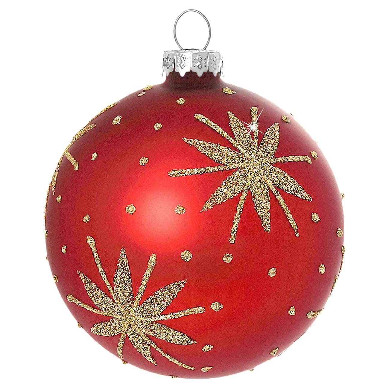 sikora christbaumkugeln aus glas mit klassischer verzierung stary night rot 4er set. Black Bedroom Furniture Sets. Home Design Ideas