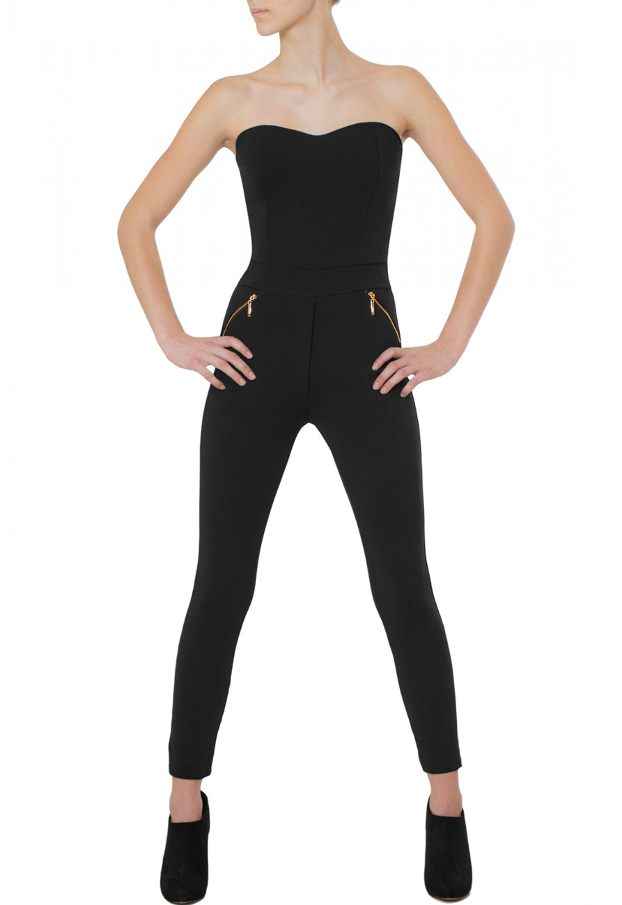 caspar damen eleganter langer jumpsuit catsuit one piece tr gerlos schwarz neu ebay. Black Bedroom Furniture Sets. Home Design Ideas