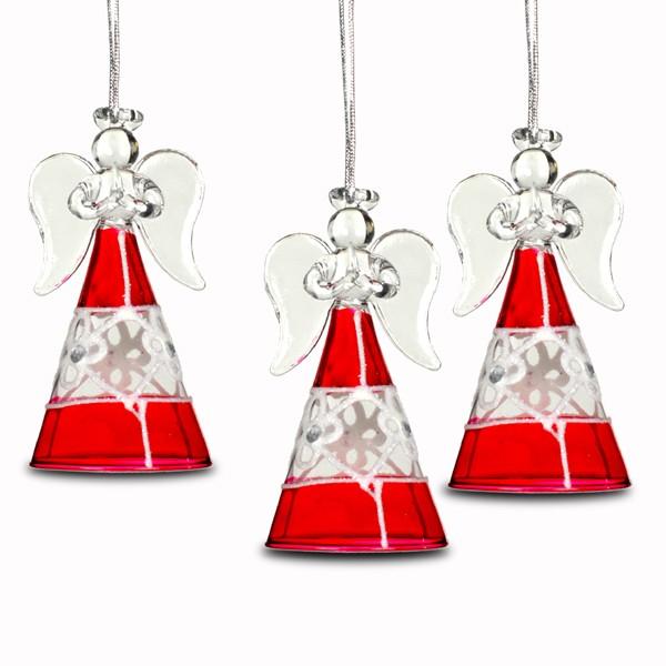 sikora bs251 christbaumschmuck aus glas engel rot weiss mit schneeflocke 3er. Black Bedroom Furniture Sets. Home Design Ideas