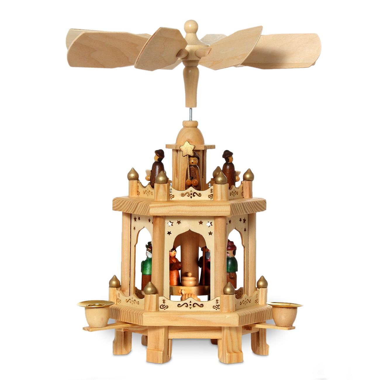 sikora klassische weihnachtspyramide aus holz mit 2 etagen f r wachskerzen h h. Black Bedroom Furniture Sets. Home Design Ideas