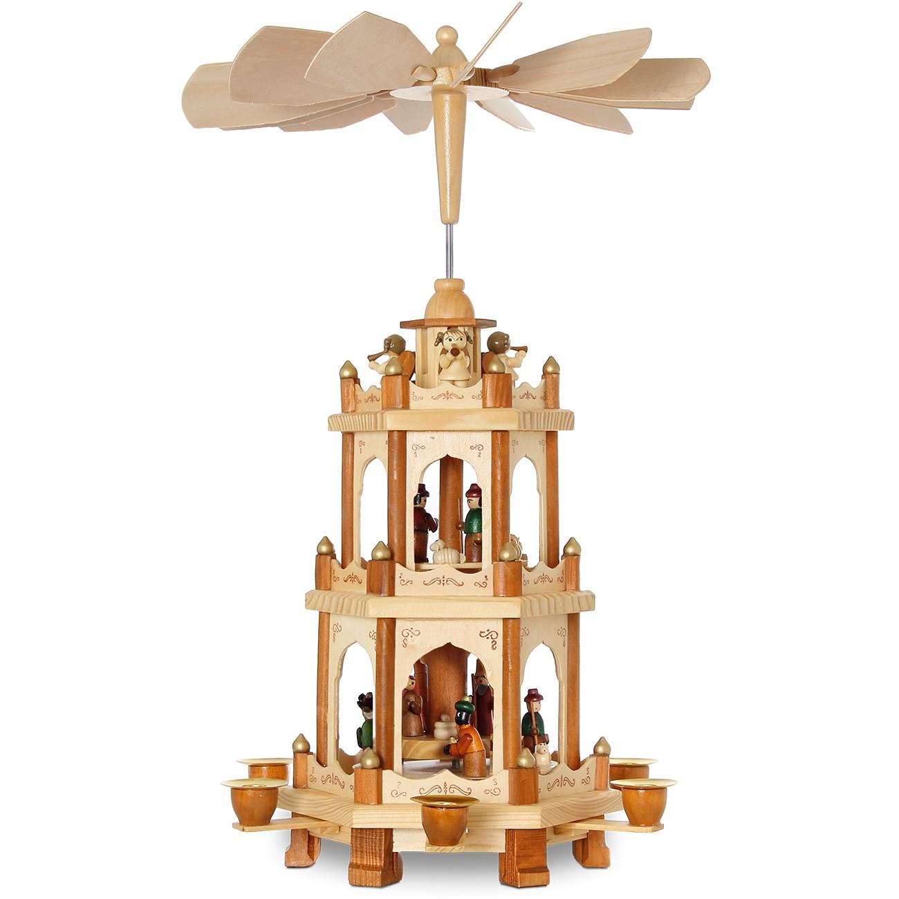 sikora p20 klassische holz weihnachtspyramide 3 etagen ebay. Black Bedroom Furniture Sets. Home Design Ideas
