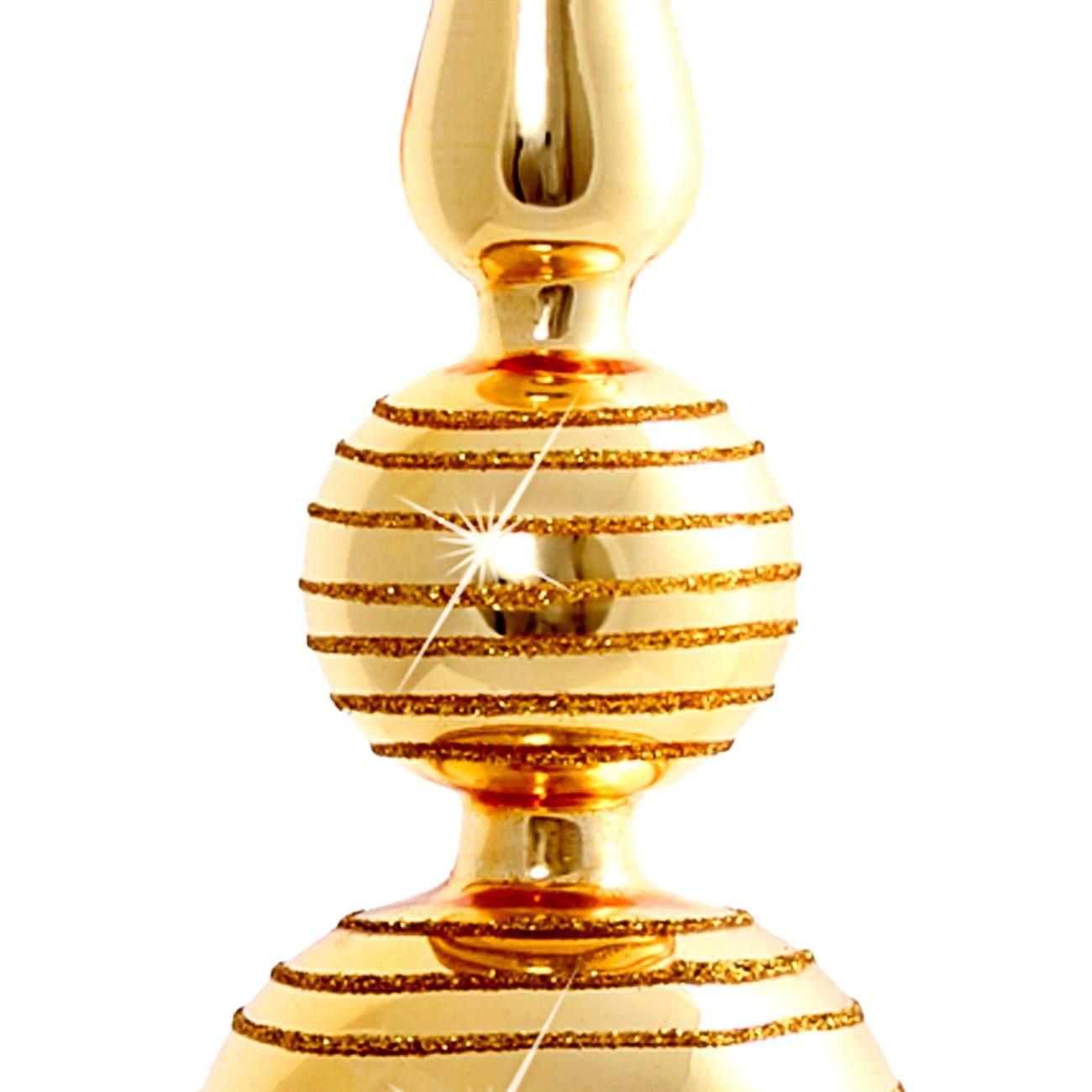 sikora klassische christbaumspitze aus glas mit glitterdekor gold h 25cm christbaumspitzen. Black Bedroom Furniture Sets. Home Design Ideas