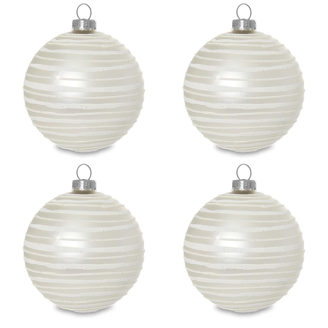 sikora christbaumkugeln aus glas mit moderner verzierung scandic stripes creme weiss 4er. Black Bedroom Furniture Sets. Home Design Ideas
