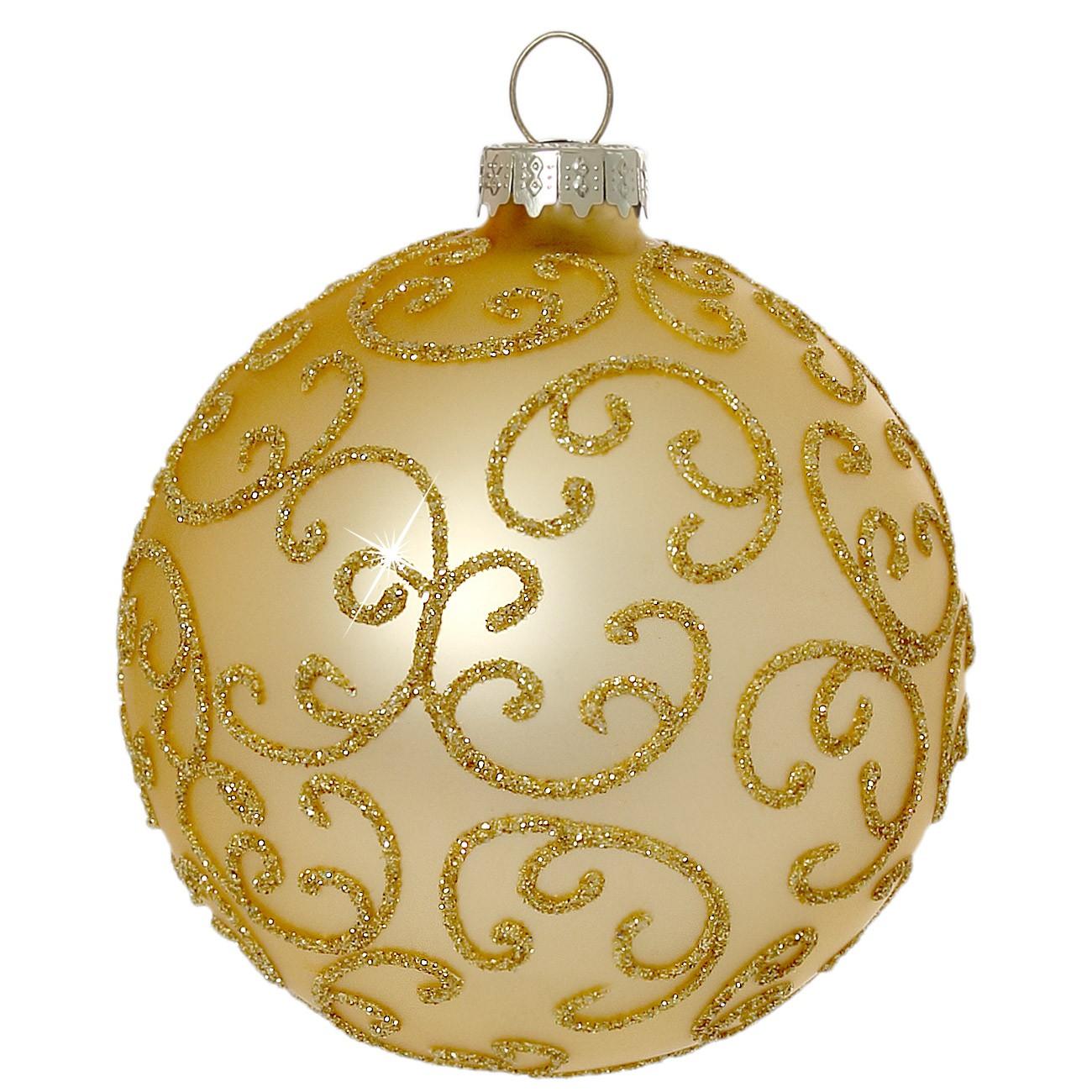 Sikora christbaumkugeln aus glas mit klassischer verzierung florence gold 4er set - Ausgefallene weihnachtskugeln ...