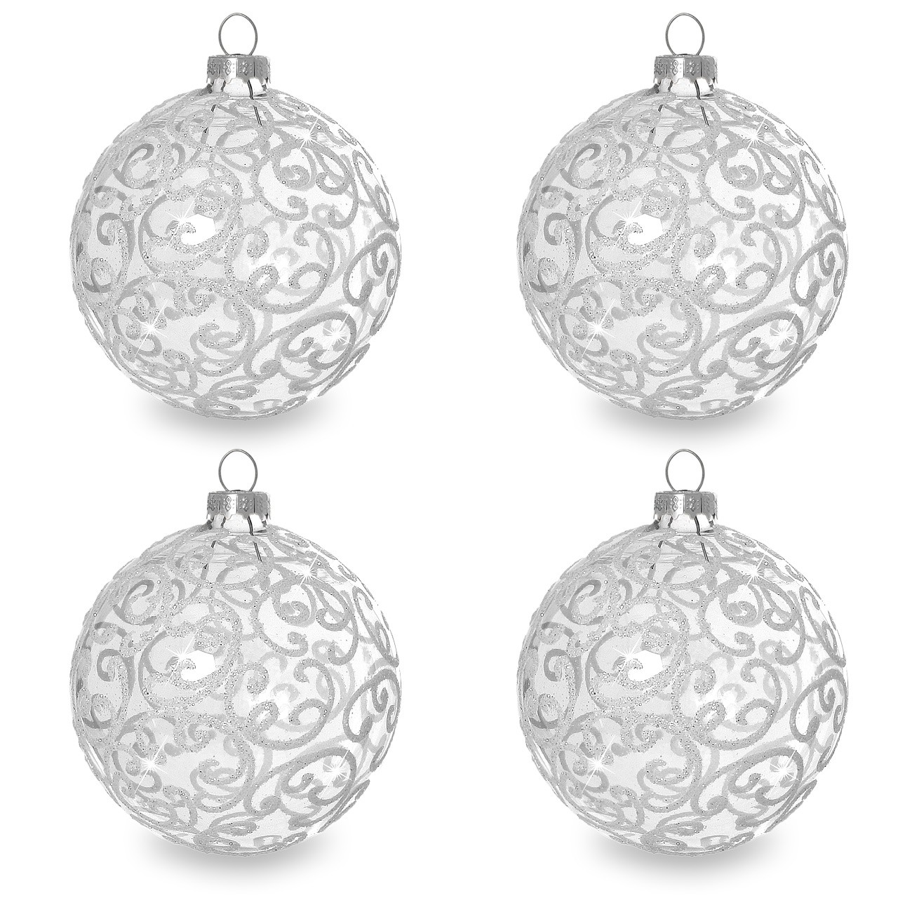 sikora christbaumkugeln aus glas mit klassischer verzierung florence klar glas 4er set. Black Bedroom Furniture Sets. Home Design Ideas