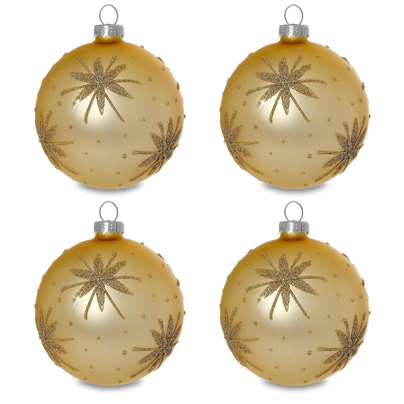 sikora christbaumkugeln aus glas mit klassischer verzierung stary night gold 4er set. Black Bedroom Furniture Sets. Home Design Ideas