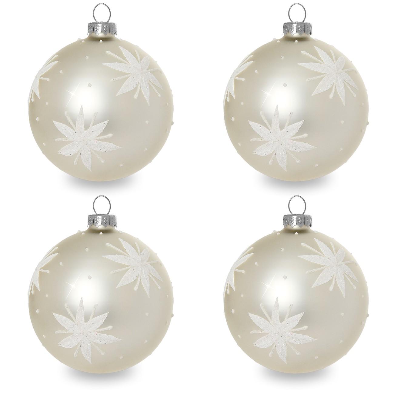 sikora christbaumkugeln aus glas mit klassischer verzierung stary night creme weiss 4er. Black Bedroom Furniture Sets. Home Design Ideas