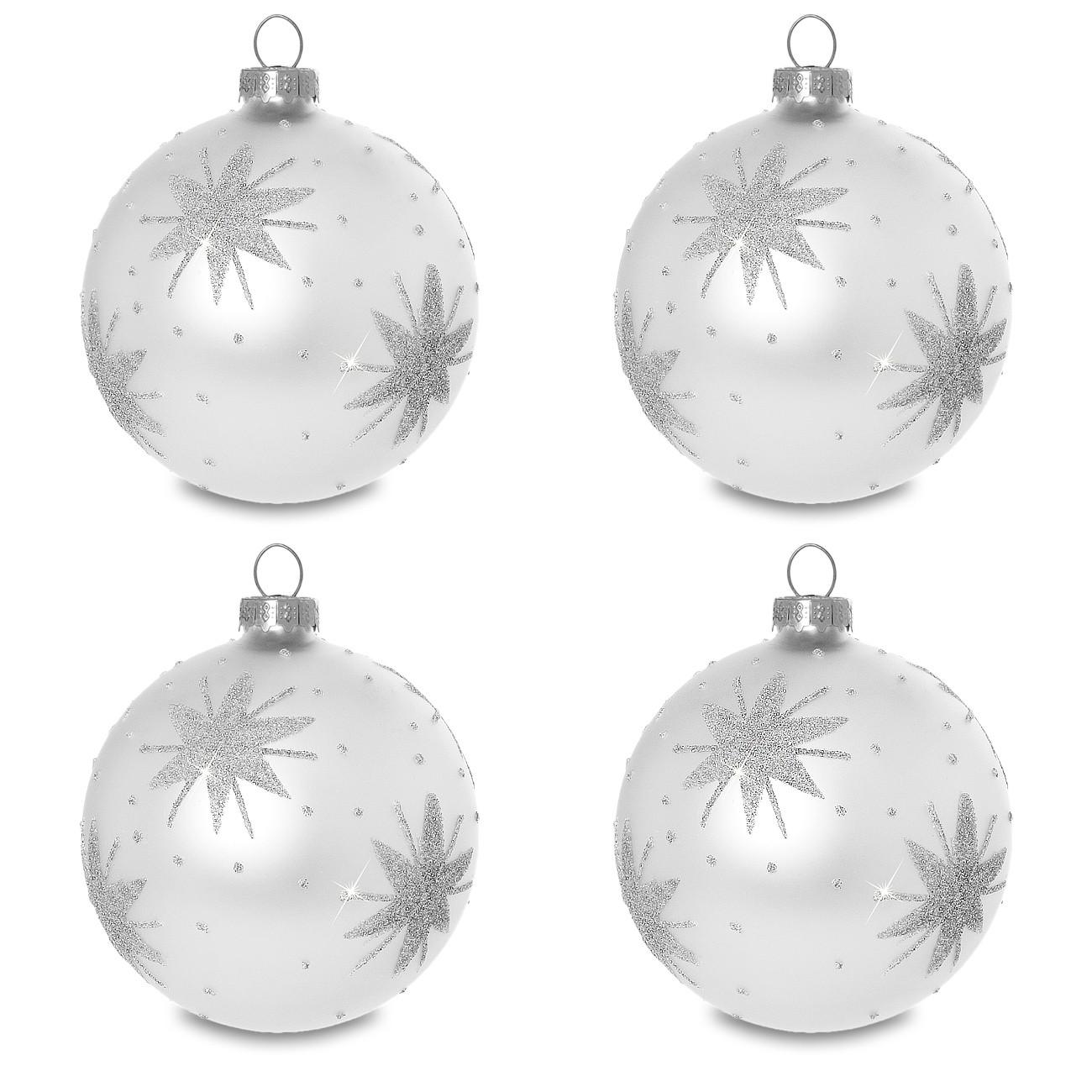 sikora christbaumkugeln aus glas mit klassischer verzierung stary night silber 4er set. Black Bedroom Furniture Sets. Home Design Ideas