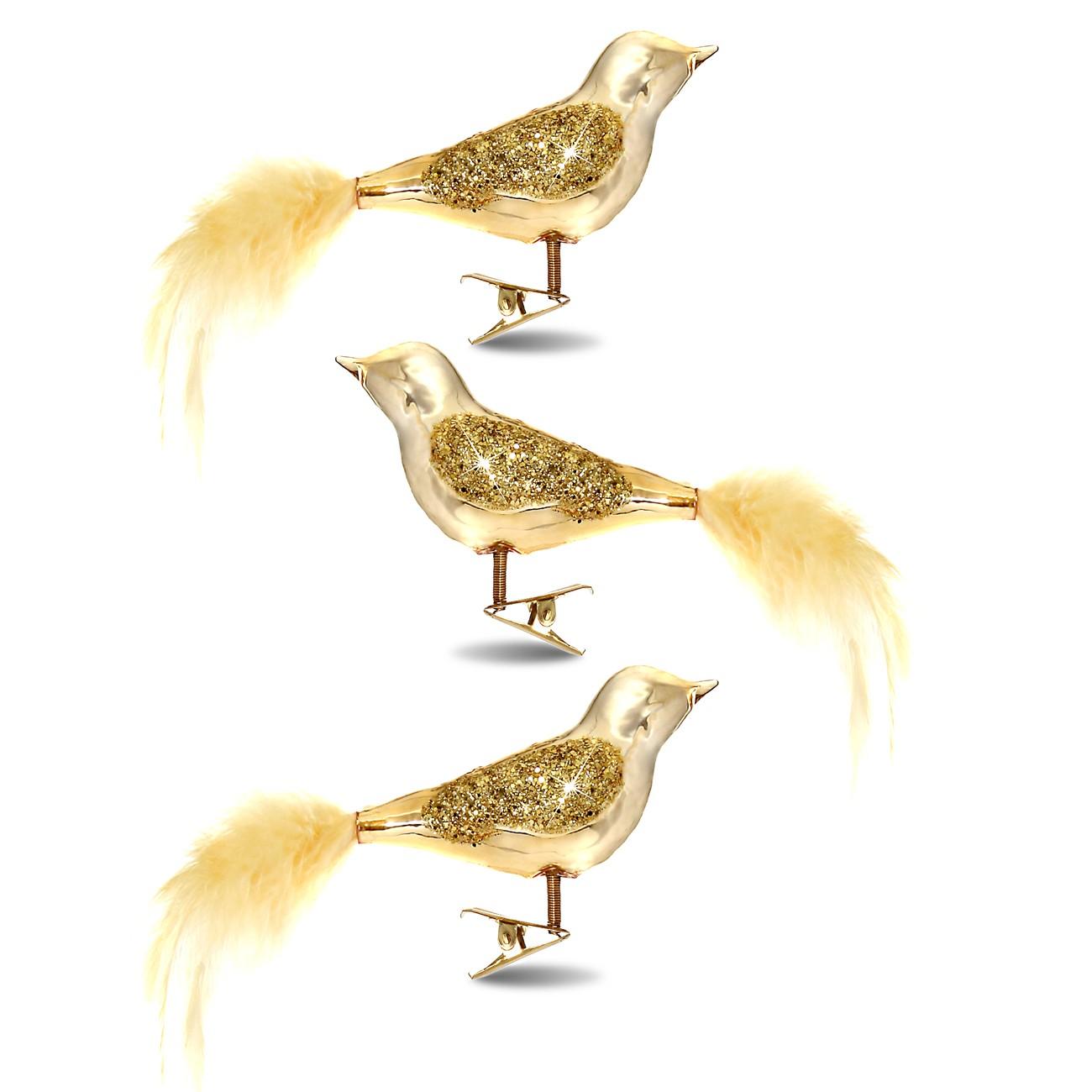 sikora christbaumschmuck glas ornament clip vogel mit federn und pailletten gold 3er set. Black Bedroom Furniture Sets. Home Design Ideas