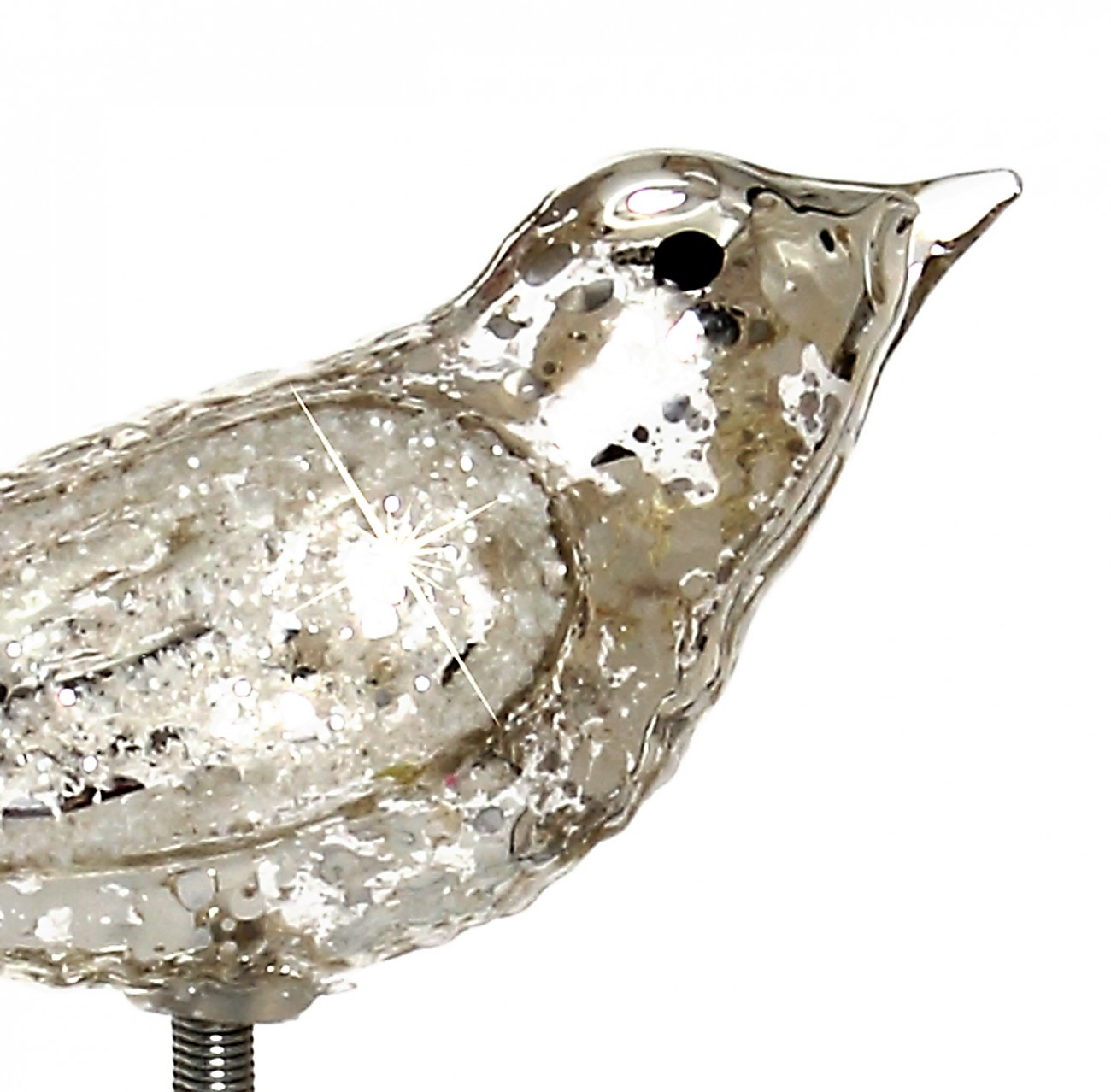 sikora christbaumschmuck glas ornament clip vogel mit federn und glimmer dekor silber 3er. Black Bedroom Furniture Sets. Home Design Ideas