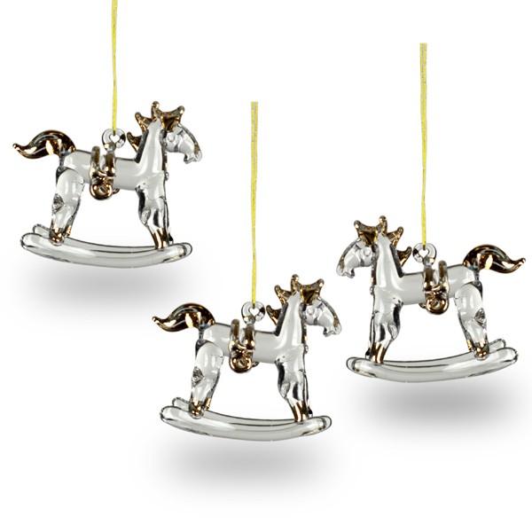 sikora christbaumschmuck aus glas pferde schaukelpferd 3er set h 5cm christbaumschmuck. Black Bedroom Furniture Sets. Home Design Ideas