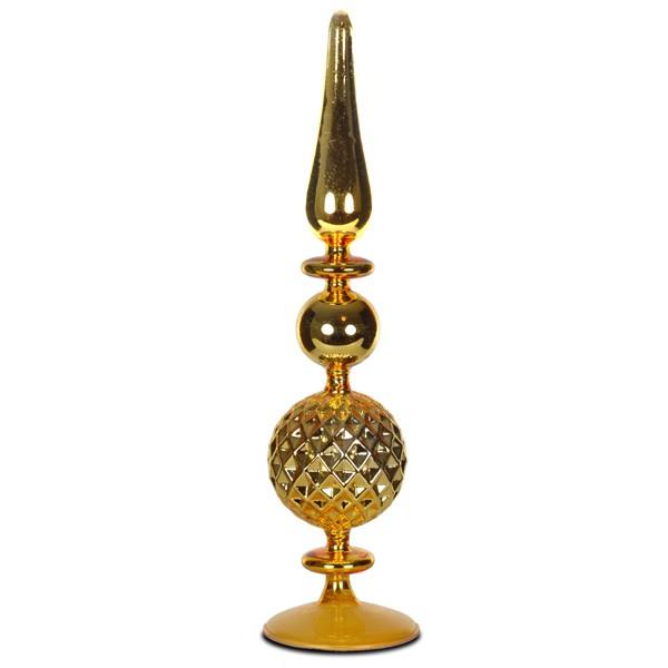 sikora grosse und ausgefallene christbaumspitze aus glas gold h 34cm christbaumspitzen. Black Bedroom Furniture Sets. Home Design Ideas