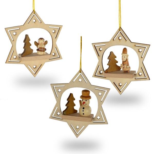 sikora bs309 christbaumschmuck aus holz stern sterne. Black Bedroom Furniture Sets. Home Design Ideas